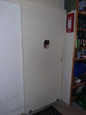 Schuifdeur dicht, vanaf de garage naar de gang. Deze klant is erg tevreden, geen kou meer en het scheelt weer in de stookkosten. (Den Hoorn)