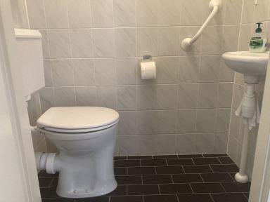 Verhoogd toilet geplaatst inclusief greep ter ondersteuning
