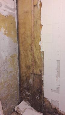 Rotte wanden in de badkamer verwijderd in Almere