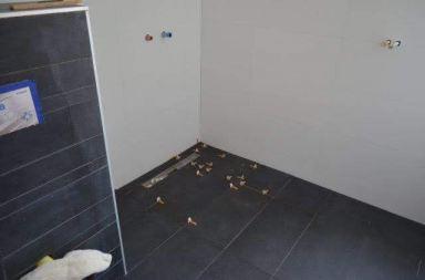 De vloer van de douche ligt er ook in.