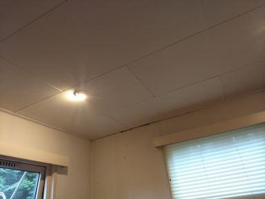 Herstel plafond met bijbehorende plinten.