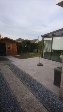 Terras en tuinhuis aanleggen Overijse
