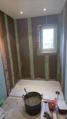 tijden renovatiewerken douche met bouwplaten