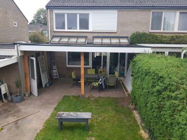Aanbouw  6.30 x 4.50 veranda met 2 lichtstraten en EPDM dakbedekking in Enschede