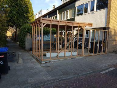 Douglas houten frame en dak schuur Dordrecht