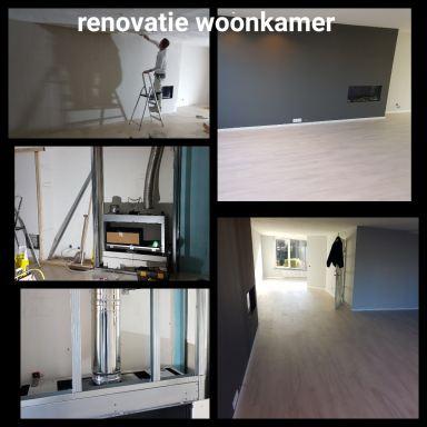 Benedenverdieping woning renovatie met nieuwe inbouw gashaard en pvc vloer te Dordrecht