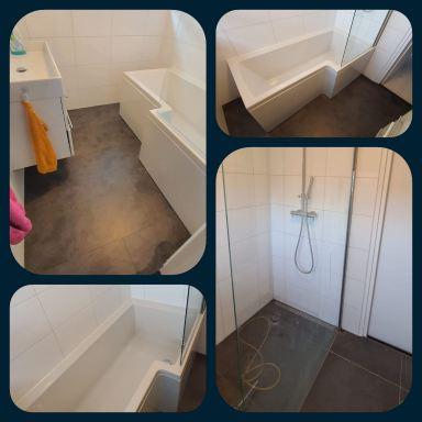 Van inloopdouche met lekkage naar bad met nieuwe pvc vloer in Dordrecht
