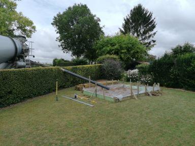 betonnen dek voor tuinhuis